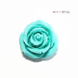 4092-【人造コーラル】 薔薇 ブルーグリーン ハーフドリル 25mm 1個|hellospace