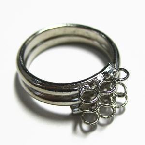 4246-『指輪パーツ』 9ホールリング 銀色 内径17mm 1個|hellospace
