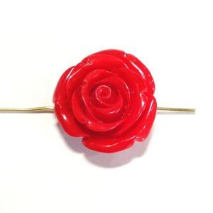 4321-【人造コーラル】 薔薇 レッド 横ホール 25mm 1個|hellospace