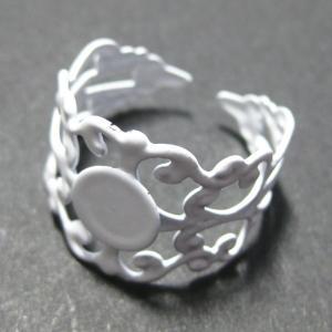 4920-『指輪パーツ』 フィリグリーリング ホワイト 8mm(トレイ部分) 2個/1セット|hellospace