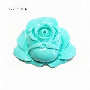 7171-【人造コーラル】 薔薇 ターコイズグリーン ハーフドリル 31x26mm 1個|hellospace
