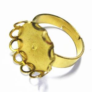 7744-『指輪パーツ』 Brassセッティングリング 金色 15mm(トレイ部分) 4個/1セット|hellospace