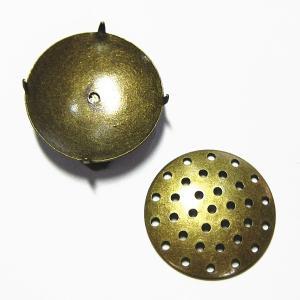 8910-『指輪パーツ』 リングパーツ(トップのみ) 真鍮古美 20mm(シャワー台) 1個|hellospace