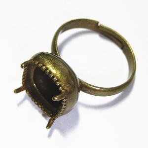 9700-『指輪パーツ』 カボション用リング 真鍮古美 10mm用 1個|hellospace