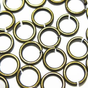 9739-【基本パーツ】 丸カン 真鍮古美 4mm(太さ0.5mm) 約185個/1セット|hellospace