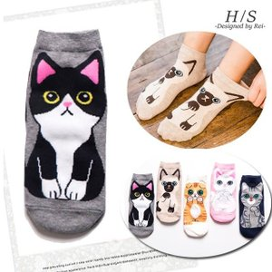 【商品説明】  大人気のネコ柄ソックス。 インパクトのある愛らしいネコちゃんが魅力的です。 さりげな...