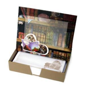 Henry Cats & Friends フォトフレーム・メモパッド 図書館で|henry-shop
