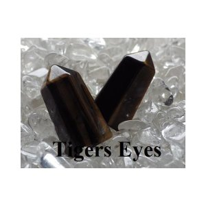 ストーンセラピー用「第3チャクラ:タイガーアイ(虎目石・Tigers Eyes)」ポリッシュポイント/ジェネレータークリスタル 3cm 【メール便可】|herbalkstore