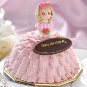 とっても可愛らしくエレガントなドールケーキの出来上がり! ドーム型のドレスの中身は2層のアイス。 し...