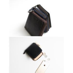 メンズ イタリア製ブライドルレザー 二つ折り財布 ジップウォレット 蝋引き 本革 秋冬|herbette