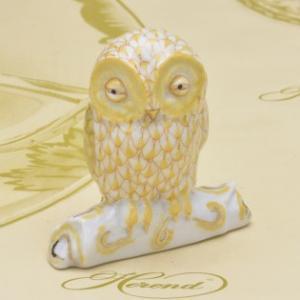 ヘレンド 止まり木ふくろう 飾り物 黄色の鱗模様 ハンドメイド 梟 フクロウ 送料無料 ギフト包装無料|herend-met