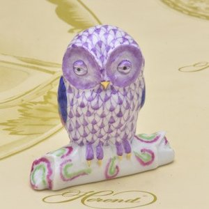 ヘレンド 止まり木ふくろう 飾り物 紫色の鱗模様 ハンドメイド 梟 フクロウ 送料無料 ギフト包装無料|herend-met