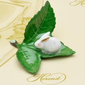 ヘレンド カードスタンド 飾り物 葉の上のうさぎ ハンドメイド 置物 箸置き ギフト包装無料 Herend|herend-met