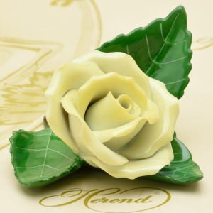 ヘレンド カードスタンド 飾り物 葉の上の薔薇/イエロー ハンドメイド 箸置き ギフト包装無料 Herend|herend-met