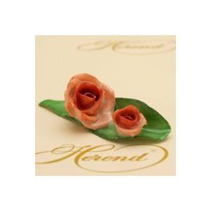 ヘレンド 薔薇と蕾(オレンジ) 置物 ハンドメイド 飾り物 オブジェ ギフト包装無料 ハンガリー Herend|herend-met