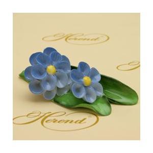ヘレンド フラワーonリーフ(ブルー) ハンドメイド 飾り物 オブジェ 磁器製 置物 ギフト包装無料 Herend|herend-met