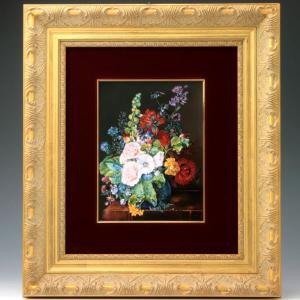 ヘレンド 陶板画 ハンドペイント フラワーズ 花 額装付き 送料無料 マスターペインターのサイン入り|herend-met