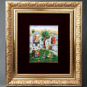 ヘレンド 陶板画 ハンドペイント 中世の細密画 額装付き 送料無料 マスターペインターのサイン入り Herend|herend-met