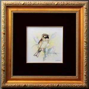 ヘレンド 陶板画 ハンドペイント タイルタブロー 小鳥図 額装付き マスターペインターのサイン入り|herend-met