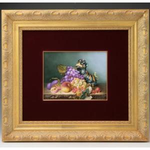 ヘレンド 陶板画 ハンドペイント フルーツと狛犬 額装付き 送料無料 マスターペインターのサイン入り|herend-met