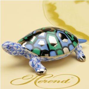亀(S) ヘレンド タートル 置物 ブルーの鱗模様(プラチナ仕上げ) かめ ハンドメイド ギフト包装無料|herend-met