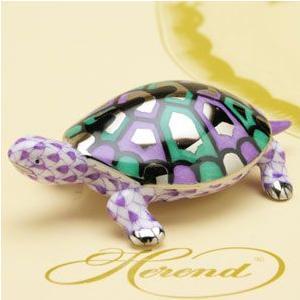 亀(S) ヘレンド タートル 置物 紫の鱗模様(プラチナ仕上げ) かめ ハンドメイド ギフト包装無料 Herend|herend-met
