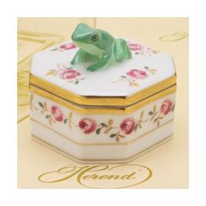 ボンボン入れ(蛙摘み) 小筐 飾り物 ヘレンド 薔薇の花飾り/シンプル ハンドメイド ファンシーボックス|herend-met