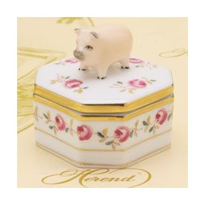 ボンボン入れ(豚摘み) 小筐 飾り物 ヘレンド 薔薇の花飾り/シンプル ハンドメイド ファンシーボックス|herend-met