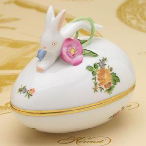 ボンボン入れ(兎と花の飾り) 卵形 ヘレンド 小さな薔薇の花束・イエロー ハンドメイド ギフト包装無料 herend-met