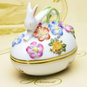 ボンボン入れ(兎と花の飾り) 卵形 ヘレンド 小さな薔薇の花束/イエロー ハンドメイド ギフト包装無料|herend-met