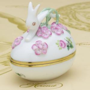 ボンボン入れ(兎と花の飾り) 卵形 ヘレンドのウィーンの薔薇・シンプル ハンドメイド 小筐 ギフト包装無料|herend-met