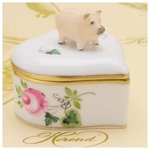 ボンボン入れ(豚摘み)ハート形 小筐 ヘレンド ウィーンの薔薇/シンプル ハンドメイド ギフト包装無料|herend-met