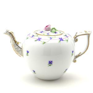 ティーポット(薔薇摘み) ヘレンド 小さな矢車菊の花飾り ハンドメイド 洋食器 送料無料 ギフト包装無料|herend-met