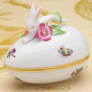 ボンボン入れ(兎と花の飾り) 卵形 ヘレンド ヴィクトリア・プレーン ハンドメイド 飾り物 ギフト包装無料 herend-met