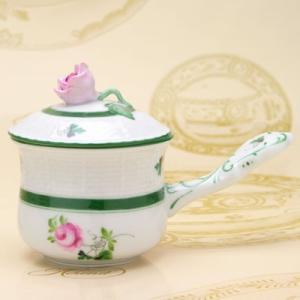 ヘレンドのウィーンの薔薇 洋食器 蓋付きクリームカップ・薔薇摘み ハンドメイド 送料無料 ギフト包装無料|herend-met