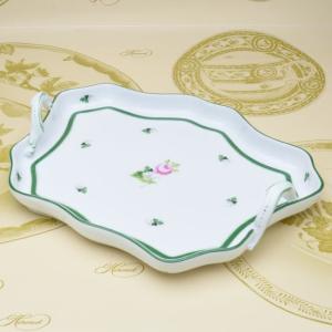 ヘレンド 洋食器 ウィーンの薔薇 持ち手付き変形トレイ ハンドメイド ハンドペイント 盆 送料無料|herend-met