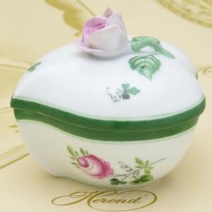 ボンボン入れ(薔薇摘み) ハート形 ヘレンド ウィーンの薔薇 飾り物 ハンドメイド 小筐 ギフト包装無料|herend-met