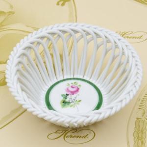 ヘレンド ウィーンの薔薇 飾り物 ラウンドワークバスケット(M) 置物 ハンドメイド ギフト包装無料 Herend|herend-met