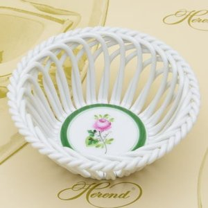 ヘレンド ウィーンの薔薇 飾り物 ラウンドワークバスケット(S) 置物 ハンドメイド ギフト包装無料 Herend|herend-met