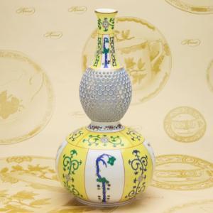 瓢箪形花瓶(L) ヘレンド 西安の黄 透かし彫り ハンドメイド 飾り物 マスターペインターのサイン入り|herend-met