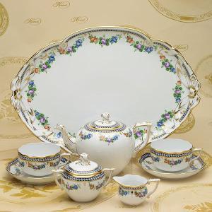 ティーセット(2人用) 真珠の首飾り ヘレンド 洋食器 ハンドペイント マスターペインターのサイン入り|herend-met