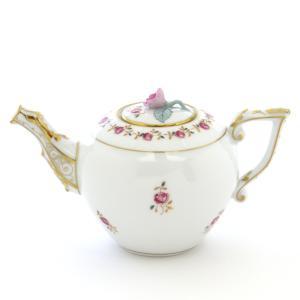 ヘレンド(Herend) ミニティーポット 薔薇の花飾りシンプル ハンドメイド 手描き 洋食器|herend-met