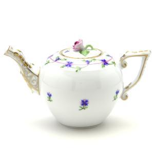 ヘレンド(Herend) ミニティーポット 小さな矢車菊の花飾り ハンドメイド 手描き 洋食器|herend-met