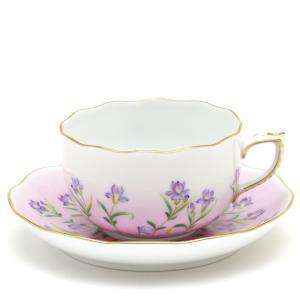 ヘレンド(Herend) ティーカップ 食器 ピンク地のアイリス 手描き 磁器製 紅茶カップ|herend-met