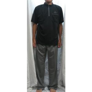 ダンロップ モータースポーツ 半袖 ボーダージップポロ+長パンツ LLサイズ 33170 16チャコールグレイxグレイ