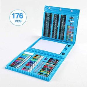 お絵かきセット 色鉛筆 176ピース 絵の具セット 水性色鉛筆 クレヨン カラーサインペン 画板付き 油性色鉛筆 塗り絵 描き用 収納 携帯|heros-shop