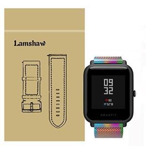 Lamshaw バンド 対応 Xiaomi Amazfit Bip, ミラネーゼループ マグネット式...