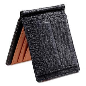 Mr.CROWN マネークリップ メンズ 財布 二つ折り 小銭入れ付き (ブラウン)|heros-shop