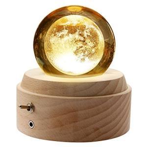 誕生日プレゼント オルゴール クリスタル ボール 間接照明 月のランプ ベッドサイドランプ LEDラ...