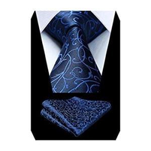 (ヒスデン)HISDERN 結婚式 ペイズリー ネクタイ セットメンズ ビジネス紺 ネクタイ チーフ セット おしゃれ ネクタイ プレゼント|heros-shop